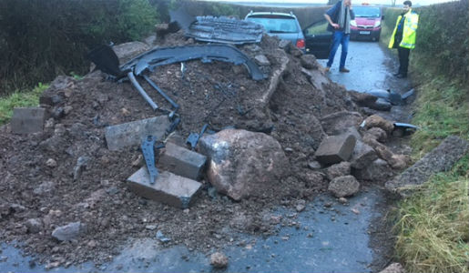 Eight tonne fly tip blocks road and is hit by motorist