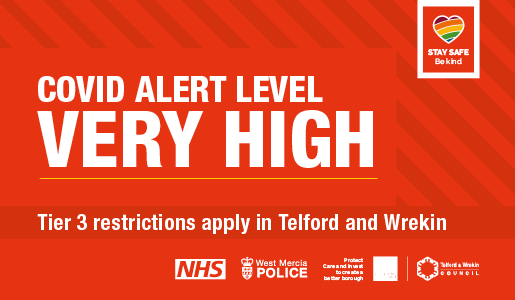 """Telford and Wrekin moves to Tier 3 """"Very High"""" Covid Alert Level restrictions, as cases rise continues"""